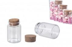Малки стъклени шишета с коркова тапа 80 мл, с размер 47х70