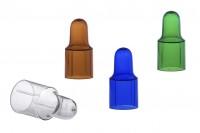 Пластмасови капачки в  4 цвята : кафяво, синьо, зелено и прозрачно ( за пипети с алуминиеви капачки)