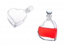ПРОМОЦИЯ ! Стъклена бутилка сърце 55 мл със стъклена  тапа