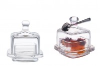 Стъклено квадратно бурканче със стъклена капачка