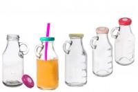 Стъклена бутилка 250 мл за сокове с капачка с дупка за сламка