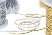 Шнур за декорация с метална нишка 3 мм (златисти / сребристи)  ширина (100 м.)