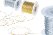 Шнур за декорация с метална нишка 1 мм (златна / сребърна) ширина (100 м.)