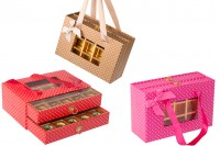 Кутия чекмедже за шоколадови бонбони в 3 цвята, с размер  210x140x85