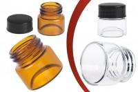 Малко стъклено бурканче за крем 5 мл (прозрачно или карамелено) с пластмасова черна капачка