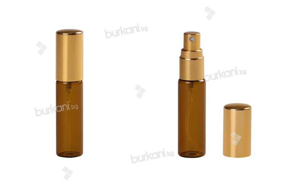 Стъклени карамелени шишенца 8 мл със спрей пулверизатор - 6 бр./пакет