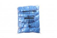 Сини найлонови галоши за едникратна употрева  (с куки) - 100 бр в кутия