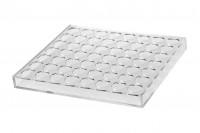 Стойка (стелаж)  от  плексиглас 165x120x28 с силиконови крака - 24 места (отвор на дупките  17 mm)