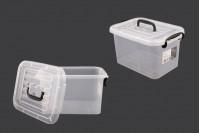 Прозрачна пластмасова кутия за съхранение с размери 280x195x160 mm, с капак с дръжка