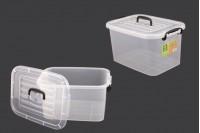 Пластмасова прозрачна кутия за съхранение с размери 345x240x185 mm, с капак с дръжка