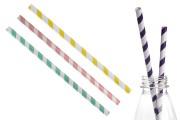 Екологични хартиени сламки 197x8 мм в различни цветове - 50 бр
