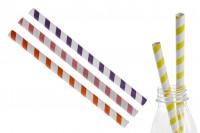 Екологични хартиени сламки 197x10 мм в различни цветове - 50 бр