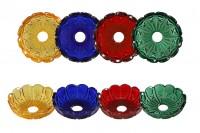 Стъклена чиния с дупка 26 мм за свещници и полилеи в различни цветове