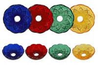 Стъклена чиния с отвор в центъра (26 мм) за свещници и полилеи в различни цветове, с височина 32 мм