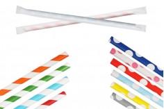 Цветни хартиени сламки 195х62 мм - пакет 100 бр.