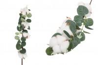 Декоративна клонка - памучен цвят със зелени листа