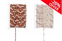 Декоративна синтетична лента, двицветна кафяво-златиста, с перлички, ширина 4 мм, 10 метра на парче