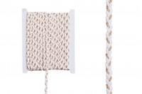 Декоративна плитка велур, бяло-златисто, 6 мм (10 метра на парче)