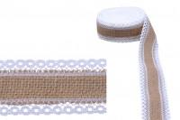 Зебло с  две бели дантели - ширина 40 mm, 5 метра на парче
