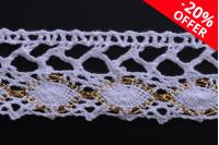 Бяла памучна дантела с метални нишки с ширина 35 mm - 10 метра на парче