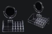 Стойка (акрилна) за грим на 4 нива с 15 места с огледало