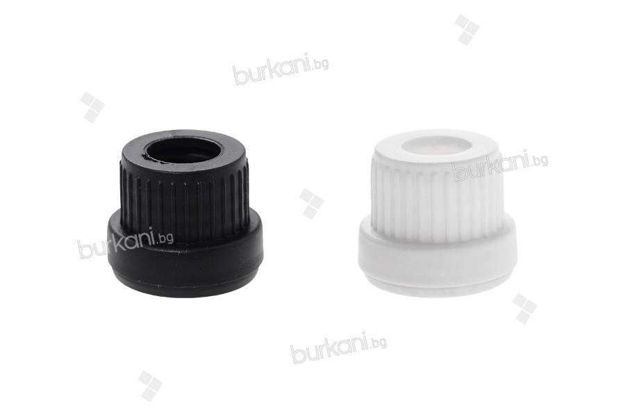 Пластмасови широки капачки бели или черни за капкомери от 5 до 100 мл