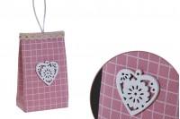 Бонбониера розова чанта с дръжки  75x44x122 mm