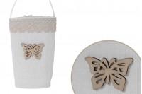 Сватбена бонбониера чанта, цвят екрю, с размери 64х45х124 мм