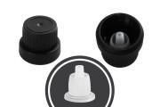 Пластмасова капачка със защитен пръстен PP18 с дозатор