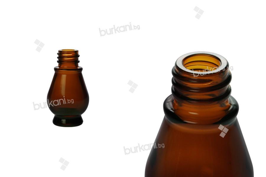 Стъклена кафява бутилка за етерични масла 10 мл с гърловина PP18