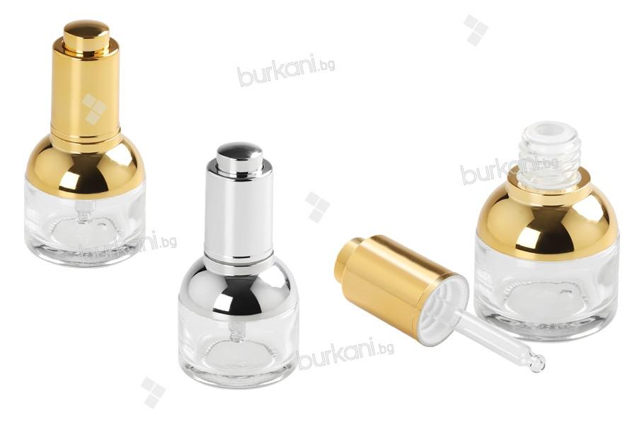 Стъклена бутилка  30 мл с капкомер, с капачка бутон и с цедка
