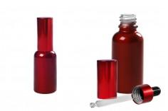 Стъклена червена бутилка с капакомер и капачка 30 мл