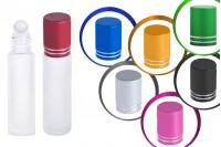 Стъклени бутилки 10 мл рол он с различни цветове капачки