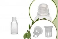Малка прозрачна стъклена бутилка 20 мл за зехтин