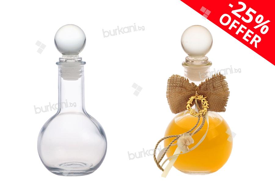 Стъклена сферична бутилка със стъклена тапа 100 мл