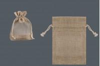 Кафява подаръчна чанта с прозорец (тюл) 100х140 мм - 12 бр