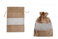 Кафява торбичка с прозорец (тюл) в бяло, с размери 130x180 mm