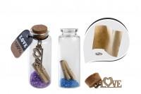 Малки стъклени шишета с коркова тапа за пожелания - 12 броя в кутия ( украсени)