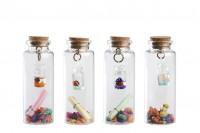 Малко декоративно стъклено шише коркова тапа за пожелания - 12 броя в кутия