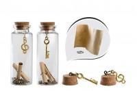 Малки декорирани шишета с коркова тапа за пожелание - 12 броя кутия