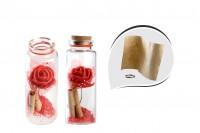 Малки шишенца с коркова тапа украсени, с лист за пожеление - 12 бр. в кутия