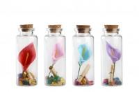 Mалки стъклени шишенца с коркова тапа, украсени, с лист за послание