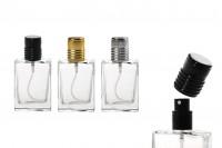 Стъклена бутилка от 30 ml, прозрачна с черна спрей помпа и калъфка  (PP 15)