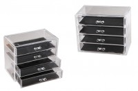 Акрилна кутийка с размери 240x135x200mm с 4 чекмеджета за козметика, бижута и др.