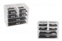 Кутия 240x135x200mm с 6 чекмеджета за козметика, за бижута и др.