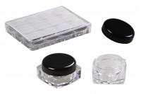 Квадратно пластмасово бурканче 5 мл с черна капачка, в кутийка от 12 бройки