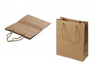 Хартиена кафява подаръчна чанта с усукана дръжка 190x80x245 мм - 12 бр