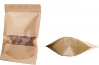"""Крафт опаковка тип Doy Pack, с цип  """"zip"""" με и прозорец, размери  180x50x260 mm - 100 броя"""