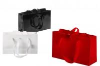 Подаръчна торбичка 250x80x150 мм с дръжка и лентичка за връзване в различни цветове - 20 бр