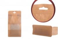 Крафт опаковка  Doy Pack с цип затваряне, прозорец и отвор на Eurohole, вътрешна и външна прозрачна облицовка и възможност за запечатване с топлоизолация 100x60x200 mm - 50 бр.